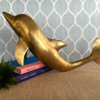 Large Vintage Brass Dolphin, Brass Dolphin Statue, Brass Dolphin Figurine, Coastal Decor, Beach House Decor, Mid Century Brass Dolphin