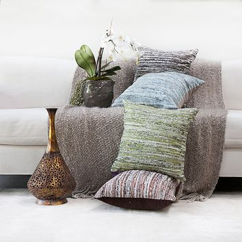 kindred home Pack of 2, Square Decorative Throw Pillow Covers Soft Chenille Pillow Cover18 X 18