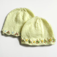 Knit Baby Hat - Yellow Baby Hat - Hand Knit Baby Hat