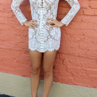 Standing Ovation White Lace Dress With Lace-Up Front & Tassels