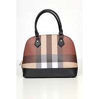 All Checked In Plaid Purse Set (Black)
