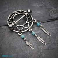 Classic Dreamcatcher Feather Nipple Shield Ring
