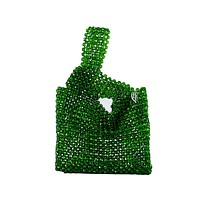 Green Beaded Shopping Bag Designer Vintage Purse