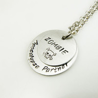 ZOMBIE Apocalipse Partner - handstamped necklace with skull and bones - Walking Dad and Zombies Fan