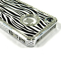 Deluxe Diamond Blink Zebra Cover Case For iPhone 4S/4 Phone Accessory Black