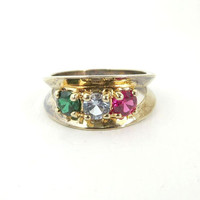 Vintage Quartz Band Ring Gold Plated Ring Sterling Silver Multi Colored Stones Ring Casual Band Ring Size 6