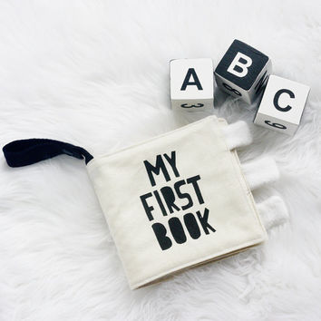 My First Cloth Fabric Quiet Book Handprinted ABC Black White Monochrome Crinkle