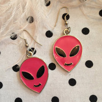 Vintage Pink Alien Head Earrings