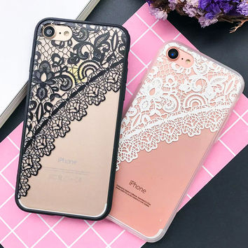 Transparent Classic Lace Flower Case For iphone 7 Case For iphone7 6 6S Plus Phone Cases Coque Sexy Lace Rose Floral Back Cover
