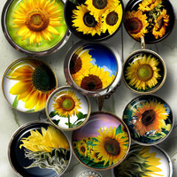 Sunflowers -  Digital Collage Sheets - 1.5in, 1.25in, 30mm, 1in, 25mm - printable craft supplies, jewelry making, digital downloads CG-943C