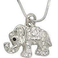 Adorable Little Crystal Elephant Charm Silver Tone Necklace for Girls, Teens and Women