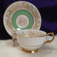 Clarence Bone China Teacup, Saucer, Mint Green Banding, Gold Floral Flowing Brocade Design, Gold Gilt Foot and Handle, English Teacup