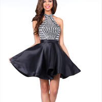 Karishma 17519 Fit and Flare Dress with Halter Top