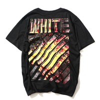 Off White Short Sleeve Print Stripes T-shirts [10262480787]