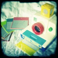 TTV photograph of vintage 1980s colourful toy Polaroid style plastic camera. Signed wall art. Nursery decor. Gift for a photographer