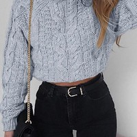 Gray Cotton High Neck Long Sleeve Crop Sweater