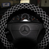 Steering Wheel Cover .Black and White Moroccan  Cover Wheel.Classic Cover Wheel.
