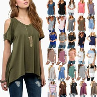 Women Summer Short Sleeve Loose T-Shirt Casual Ladies Tunic Top Blouse Tee Shirt