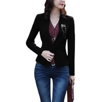 Allegra K Women Long Sleeve Single Button Slim Fit Jacket Office Blazer