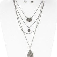 Layered Bohemian Styled Earring & Necklace Set
