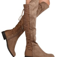 Faux Suede Back Lace Up Low Heel Women's Vegan Suede Boot