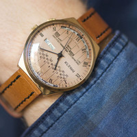 Men's watch Rocket gold plated watch chunky perpetual calendar watch sandy face X'mas gift premium leather strap new