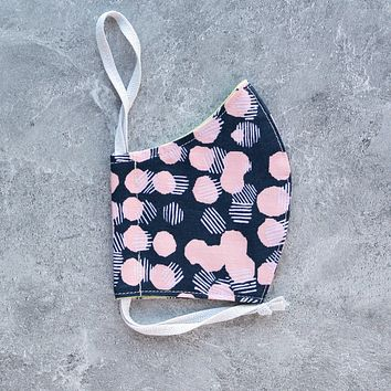 Screened Dots in Pink Face Mask - Choose Your Size