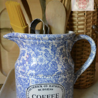 Blue English Ironstone Chintz Transferware Advertising COFFEE Pitcher Lace Flowers and Scrolls - Kitchen Decor