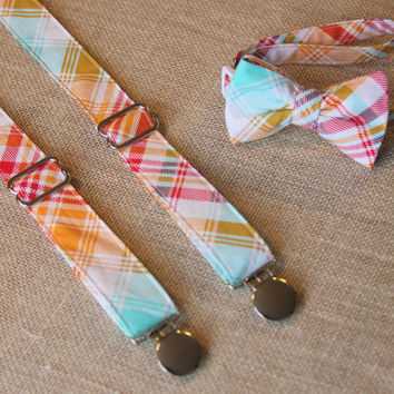 Pink Orange Blue Plaid Bow Tie and Suspenders set Spring Summer ( Men, boys, baby, toddler, infant Suspender and Bowtie )