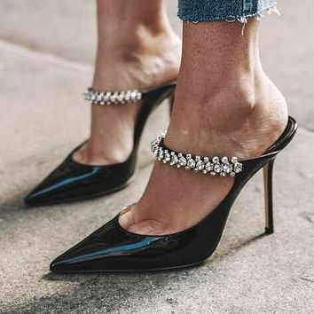 Jimmy Choo Classic Treding Women Pointed Diamond High Heeled Sandals Slippers Shoes