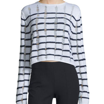 T by Alexander Wang Distressed Striped Boxy Sweater, Ink/Ivory