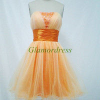 orange tulle and satin prom dress with sequins cheap strapless beaded homecoming gowns hot short simple dress for party