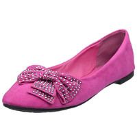 Womens Ballet Flats Studded Bow Accent Slip On Comfort Shoes Pink SZ