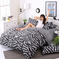3/4pcs King Size Geometric Bedding Sets Leopard Queen twin Size Duvet Cover Sets Pillowcases Bed Linen Black&White Bed Clothes