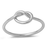 925 Sterling Silver Love Knot Promise Ring +Free Gift -Random Necklace