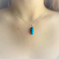 Turquoise Necklace, Turquoise Crystal Pendant Necklace, Layering Necklace, Sterling Silver and Turquoise