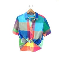 Vintage checkered rainbow shirt. button up short sleeve top.