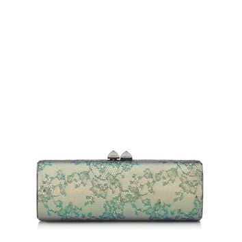 Aloe Mix Holographic Lace and Metallic Elaphe Clutch Bag   Charm   Spring Summer 15   JIMMY CHOO Spring Summer 15