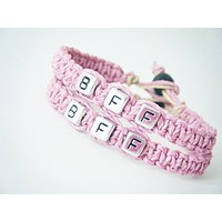 BFF Bracelets, Light Pink Hemp Friendship Bracelets, Best Friend Gift , Anniversary Gift