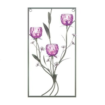 Candle Sconces Magenta Flower Three Candle Wall Sconce