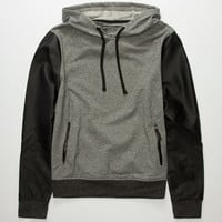 Brooklyn Cloth Grindin Mens Faux Leather Sleeve Hoodie Charcoal  In Sizes