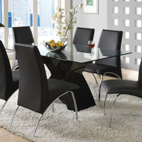 A.M.B. Furniture & Design :: Dining room furniture :: Small Dinette Sets :: Metal and Glass Sets :: 7 Pc. Wailoa Contemporary Style Glass Table Top and Black Finish X-shaped Base Dining Set