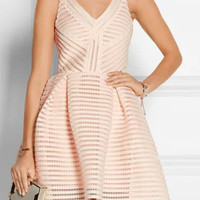 Beige Sheer Stripe V-Neckline Sleeveless Skater Dress