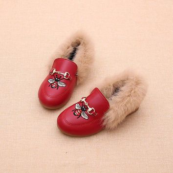 Girls Fashion Winter Child Plush PU Loafer Shoes Baby Girls Princess Leather Shoes Party Shoes