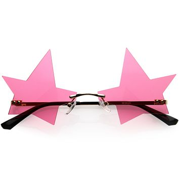 Chic Tinted Star Design Rimless Metal Frame Stars Sunglasses D083