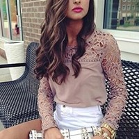 Moxeay® Women's Casual Long Sleeve Shirt Lace Crochet Embroidery Slim Tops Blouse (M)
