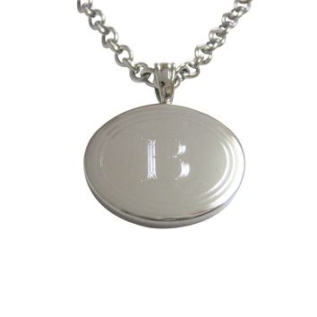 Silver Toned Etched Oval Letter B Monogram Pendant Necklace