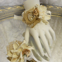 Burlap & Sola Flower Wrist Corsage, Made to Order.