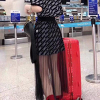 """ Balenciaga"" Woman Casual Wild Fashion Letter Printing Loose Short Sleeve Gauze Skirt Two-Piece Set Casual Wear"
