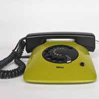 Vintage Rotary Telephone - Iskra ETA 81 80  -  Lime Green - Working Condition - MOMA Collection